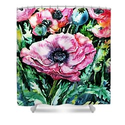 Pink Garden Poppies  Shower Curtain