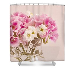 Pink Geraniums Shower Curtain by Sandra Foster
