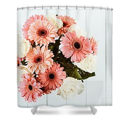 Pink Gerbera Daisy Flowers And White Roses Bouquet Shower Curtain