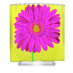 Pink Gerbera On Yellow, Watercolor Shower Curtain by Irina Afonskaya