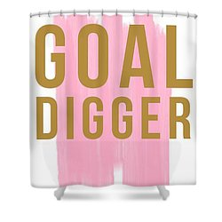Pink Goal Digger Shower Curtain by Elizabeth Taylor
