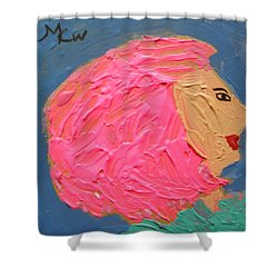 Shower Curtain featuring the painting Pink  Hair by Mary Carol Williams