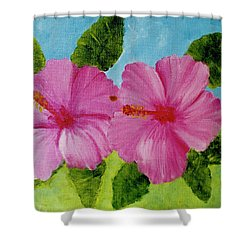 Pink Hawaiian Hibiscus Flower #23 Shower Curtain by Donald k Hall