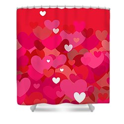 Pink Heart Abstract Shower Curtain by Val Arie