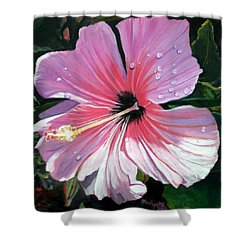 Pink Hibiscus With Raindrops Shower Curtain by Marionette Taboniar