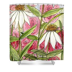 Pink Hollyhock And White Coneflowers Shower Curtain