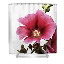 Pink Hollyhock Shower Curtain by Tracey Harrington-Simpson