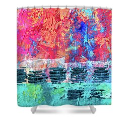 Shower Curtain featuring the painting Pink Horizon by Nancy Merkle