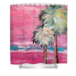 Pink Horizon Palms Shower Curtain
