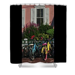 Pink House Bikes Cape May Nj Shower Curtain