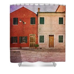 Shower Curtain featuring the photograph Pink Houses by Anne Kotan