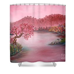 Pink Lake Shower Curtain by Emily Michaud