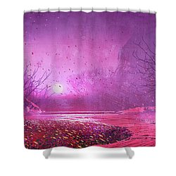 Pink Landscape Shower Curtain