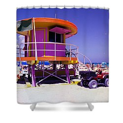Pink Lifeguard Stand Shower Curtain