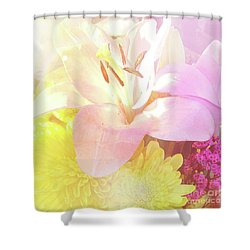 Shower Curtain featuring the photograph Pink Lilies Yellow Mums by Cindy Garber Iverson