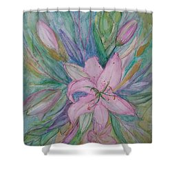 Pink Lily- Painting Shower Curtain by Veronica Rickard