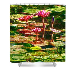 Pink Lotus Flower 2 Shower Curtain by Lanjee Chee