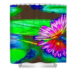 Shower Curtain featuring the painting Pink Lotus Flower Reflection by Lanjee Chee