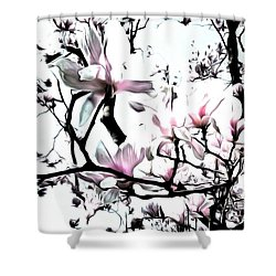 Shower Curtain featuring the photograph Pink Magnolia - In Black And White  by Janine Riley