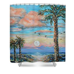 Pink Moon Rise Shower Curtain by Linda Olsen