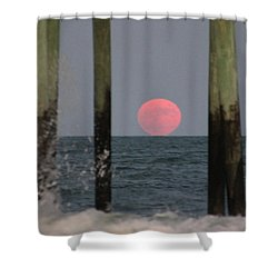 Pink Moon Rising Shower Curtain