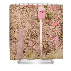 Shower Curtain featuring the photograph Pink Nesting Box by Bonnie Bruno