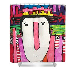 Shower Curtain featuring the mixed media Pink Nose by Don Koester