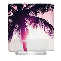 Shower Curtain featuring the photograph Pink Palm Tree Silhouettes Kihei Tropical Nights by Sharon Mau
