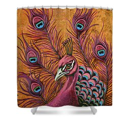 Pink Peacock Shower Curtain by Leah Saulnier The Painting Maniac