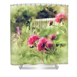 Shower Curtain featuring the digital art Pink Peonies In A Vintage Garden by Lois Bryan