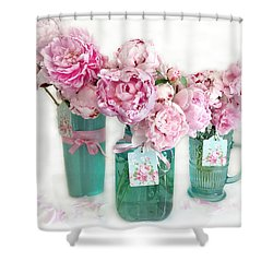 Shower Curtain featuring the photograph Pink Peonies In Aqua Vases Romantic Watercolor Print - Pink Peony Home Decor Wall Art by Kathy Fornal
