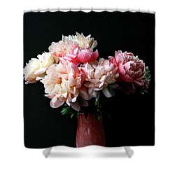Pink Peonies In Pink Vase Shower Curtain