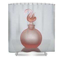 Shower Curtain featuring the photograph Pink Perfume Bottle Vertical by David and Carol Kelly