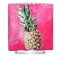 Pink Pineapple Bright Fruit Still Life Healthy Living Yoga Inspiration Tropical Island Kawaii Cute Shower Curtain by Laura Row