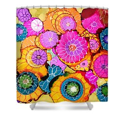 Pink Pinwheel Flowers Shower Curtain