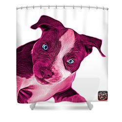Pink Pitbull Dog Art 7435 - Wb Shower Curtain by James Ahn