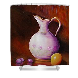 Pink Pitcher Shower Curtain