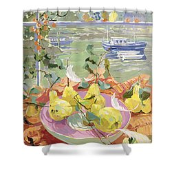 Pink Plate Of Pears Shower Curtain by Elizabeth Jane Lloyd