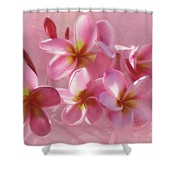 Shower Curtain featuring the photograph Pink Plumeria Pastel By Kaye Menner by Kaye Menner
