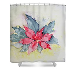 Pink Poinsetta On Blue Foliage Shower Curtain