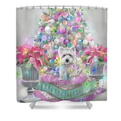 Pink Poinsettias Shower Curtain by Mary Sparrow