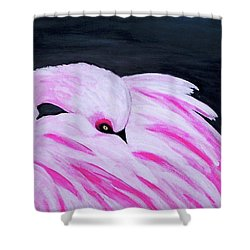 Shower Curtain featuring the painting Pink Primping Flamingo by Sonya Nancy Capling-Bacle