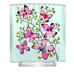 Pink Profusion Butterflies Shower Curtain by Roleen Senic