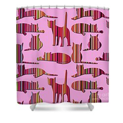 Shower Curtain featuring the mixed media Pink Pussy Cat by Carla Bank