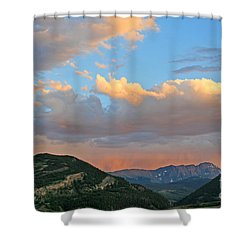 Pink Rain Over The Sleeping Indian Shower Curtain