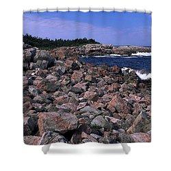 Pink Rock Shoreline Shower Curtain by Sally Weigand