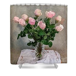 Shower Curtain featuring the digital art Pink Roses by Alexis Rotella