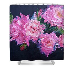 Pink Roses Oil Painting Shower Curtain