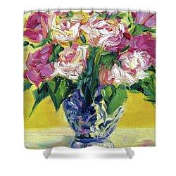 Pink Roses In Blue Deft Vase Shower Curtain