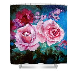 Pink Roses On Blue Shower Curtain by Jenny Lee